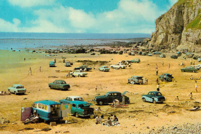 Historic vehicles in period postcards